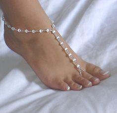 Swarovski Crystal and Pearl Beach Wedding Barefoot Sandals Beach Wedding Jewelry, Beach Jewelry, Wedding Shoes, Beaded Sandals, Beaded Anklets, Bridal Sandals, Beach Feet, Pearl Beach, Bare Foot Sandals
