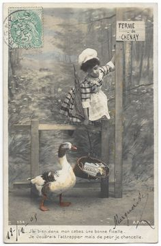 Edwardian Little Cook Girl Lures Goose with Hand Net, Antique Children Animal Farm Scene real photo postcard, tinted postcard, RPPC by maralecollectibles on Etsy Photo Postcards, Vintage Postcards, Vintage Photographs, Vintage Photos, Vintage Scrapbook, Vintage Colors, Belle Epoque, Farm Animals, Vintage Antiques