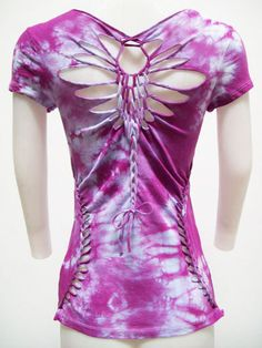 SALE LARGE Junior/Womens Top Purple Tie Dyed Top by SolAuraDesigns