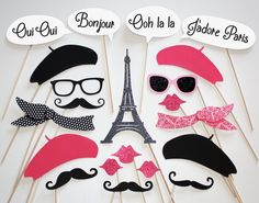 paris photo booth | We'll Always Have Paris Photo Booth Party Props - 21 Piece Set. $35.00 ...
