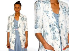 Vtg Light Floral Tapestry Printed Slouchy Jacket w by LuluTresors, $32.99