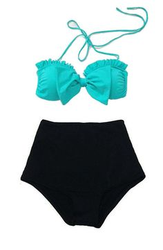 Mint Bow Bra Top and Black High waisted High waist Highwaisted Shorts Bottom Vintage Retro Swimsuit Bikini 2PC Swim Bathing Suit wear S M