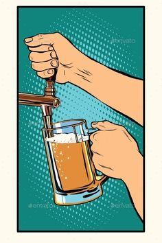 Buy The Bartender Pours a Glass Of Beer by studiostoks on GraphicRiver. The bartender pours a glass of beer pop art retro vector. Pub and draught alcohol Pub Logo, Beer Images, Geile T-shirts, Pop Up Bar, Beer Humor, Beer Funny, Beer Art, Free Beer, Beer Lovers