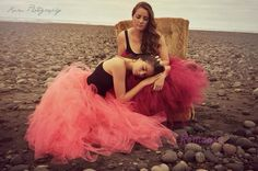 Romayse Tutu's #longtutuskirts mother and daughter photoshoot in coral and Burgandy tutu