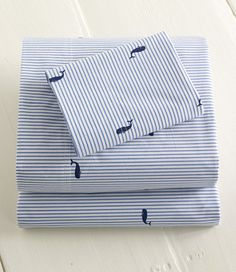 Classic Colors Whale Percale Sheet Set: Sheet Sets | Free Shipping at L.L.Bean - Big Boy Room