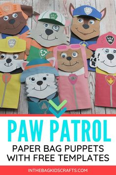 These Paw Patrol puppets are easy to make with the printable templates that are included. Make them and then put on a puppet show. Preschool Crafts, Preschool Activities, Crafts For Kids, Daycare Crafts, Toddler Crafts, Paper Plate Animals, Subject And Predicate Worksheets, Paper Bag Puppets, Cricut Fonts