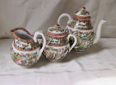Japanese Hand Painted Porcelain Tea Set by TeaCupsFromSharon China Porcelain, Painted Porcelain, Sugar Bowl, Bone China, Tea Set, 1930s, Butterfly, Hand Painted, Japanese