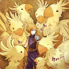 chocobo! and cloud from final fantasy