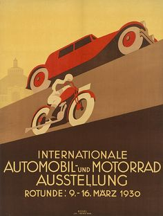 International Automobile & motorcycle exhibition, Vienna 1930  Poster by Hermann Kosel