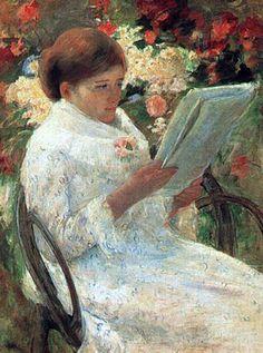 Woman Reading in a Garden. Mary Cassatt.