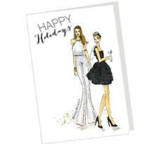 Holiday Fashion illustration of Happy Holidays Sparkle Girls by Emily Brickel with two fashion girls in a white sparkle jumpsuit and a black sparkle by Emily Brickel