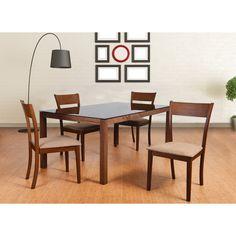 Olivia Mid-Century 5 Piece Living Room Dining Set, Brown