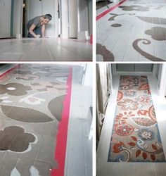Flower runner painted wood floor...