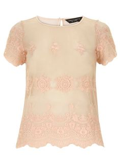 Coral embroided lace tee #DorothyPerkins #StyleEssentials