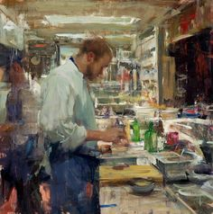 """Elementi Pittorici    """"In the Kitchen"""" by Quang Ho  oil on panel, 20x20"""