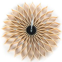 Mid century modern George Nelson 19-inch Natural-style Wood Sunflower Clock - Overstock™ Shopping - Great Deals on Clocks
