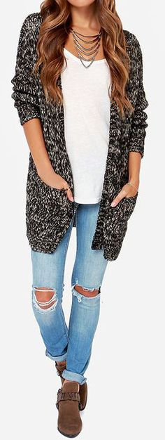 As Seen On Ashleigh of The Daileigh blog and Kalyn of Kalyn Nicholson blog! Just like its namesake the Volcom Mix Tape Black and Cream Cardi...