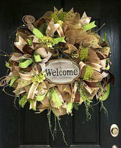 burlap deco mesh wreath