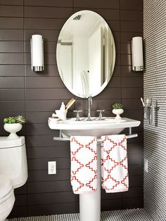 Love the modern & the neat towel rack off the pedestal sink. | inspiration for half bath in addition