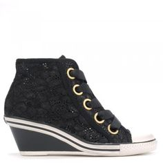 Ash GLEN Mid-Wedge Trainers Black Lace