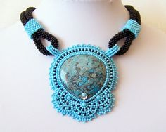 Love how she attached the pendant!  Statement Beadwork Bead Embroidery Pendant Necklace with by lutita, $125.00