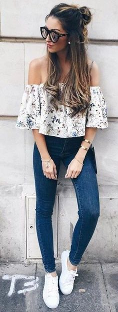 #summer #young #girls #outfits | Floral   Denim