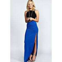 Boohoo Basics Tamsin Ruched Side Jersey Maxi Skirt ($14) ❤ liked on Polyvore featuring skirts, blue, long blue skirt, floral skater skirt, blue skater skirt, skater skirt and jersey knit maxi skirt
