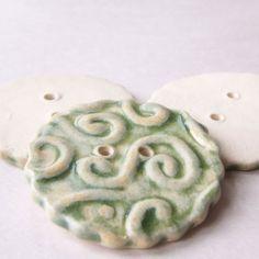 Spearmint Green Swirl Button Trio by wildcardpottery on Etsy, $9.50