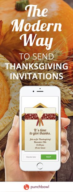 Paper invites are too formal, and emails are too casual. Get it just right with online invitations from Punchbowl. We've got everything you need for your Thanksgiving party.   https://www.punchbowl.com/online-invitations/v/f/thanksgiving?cat_header=true?utm_source=Pinterest&utm_medium=126.3P