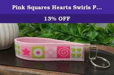 Pink Squares Hearts Swirls Polka Dots Stars Keychain Hand Sewn Cotton Hot Pink White Lime Green Webbing Ribbon. A hand sewn keychain featuring embroidered polka dots, stars, hearts, swirls on a white ribbon stitched on a pink cotton webbing. Includes one large split ring for you to attach your keys, split ring measures 34mm. Keychain measures 6 inches long, comfortably slipping over your hand onto your wrist for easy carry and comfort.