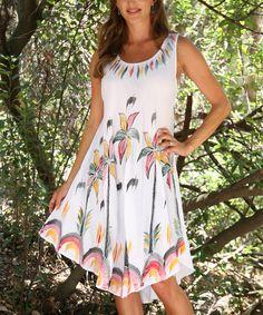 White Palm Tree Sleeveless Dress