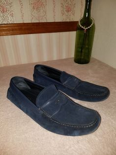 5344ee3e448 Prada mens Logo Driver moccasin loafers suede size 10 navy  fashion   clothing  shoes