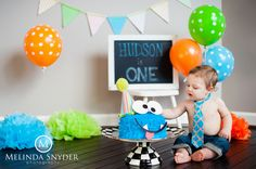 One Year Smash Cake- Little Monster! I don't know! Maybe monsters should be the theme?!