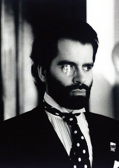 Karl Lagerfeld photographed by Helmut Newton, 1970s.