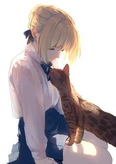 Saber and a cat [Fate] Anime Art Girl, Manga Girl, Wakfu Evangelyne, Film Manga, Violet Evergarden Anime, Arturia Pendragon, Fate Anime Series, Estilo Anime, Anime Artwork
