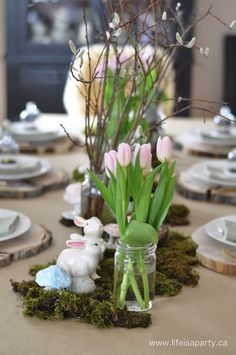 Spring Woodland Easter Brunch: pretty woodland inspired Easter table, and easy make-ahead Easter Brunch menu -real party.