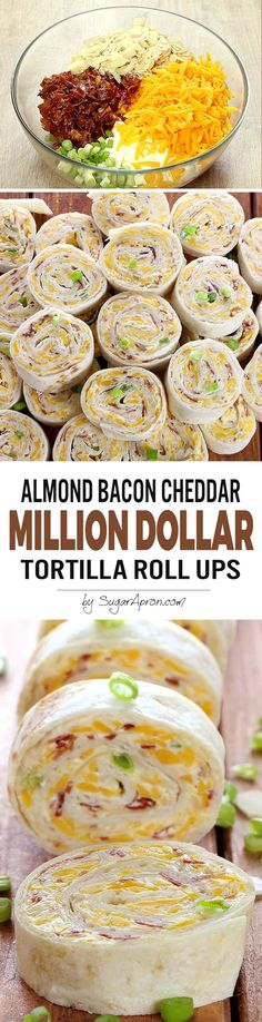 Whatever the reason.These Almond Bacon Cheddar Tortilla Roll Ups taste like a million bucks. Best Appetizer Recipes, Finger Food Appetizers, Yummy Appetizers, Appetizers For Party, Mexican Food Recipes, Ladybug Appetizers, Christmas Appetizers, Party Recipes, Roll Ups Tortilla