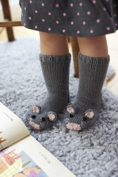 Free Knitting Pattern for Mouse Socks – These adorable mice socks are excerpted from Fiona Goble's Knitted Animal Scarves, Mitts, and Socks. , Free Knitting Pattern for Mouse Socks – These adorable mice socks are excerpted … , DIY's &… Continue Reading → Baby Knitting Patterns, Knitting For Kids, Knitting Socks, Free Knitting, Knitting Projects, Knitted Baby Socks, Baby Knits, Crochet Patterns, Crochet Baby
