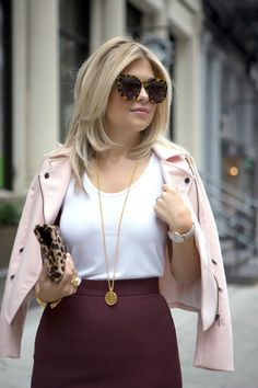 Pink and Bordeaux ~ Suburban Faux-Pas Church Outfits, Fall Outfits, Cute Outfits, Work Fashion, Modest Fashion, Fashion Tips, Banana Republic Outfits, Bordeaux, Preppy Style