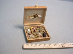 Jewelry Box- Filled - #2 Handcrafted - Dollhouse Miniature #KarensMiniatures