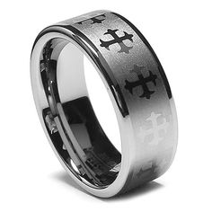 Tungsten Ring Direct - Tungsten Ring for Men, High End Design with Gothic Crosses, High Polish Finish Edge, 8MM, $24.99 (http://www.tungstenringdirect.com/tungsten-ring-for-men-high-end-design-with-gothic-crosses-high-polish-finish-edge-8mm/)