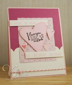 Card by Anya Schrier using Love Notes from Verve.  #vervestamps