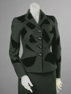 Elsa Schiaparelli, Embroidered by Lesage, Paris. 1939 Wool knit , rayon velvet appliqués, silk embroidery, metal buttons