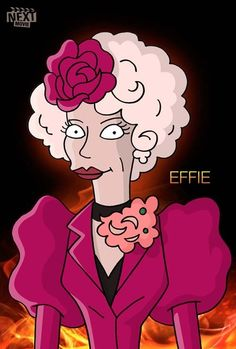 """Hunger Games"" Cast As ""The Simpsons"" Jogos Vorazes! Effie"