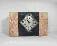 Large French art deco marble clock. French mantel by LaBonneVie72