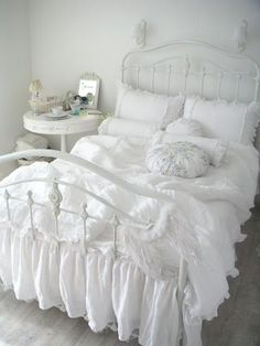 white ruffled bedding                                                                                                                                                     More