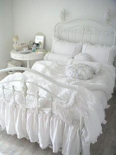 white ruffled bedding                                                                                                                                                     More