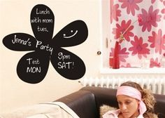 Love this flower chalkboard wall decal for decorating the walls of girls kids and teen rooms!