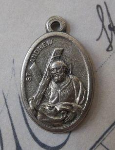 Saint Andrew Holy Italian Silver Medal With Cross, Patron Saint of Fisherman, Catholic Medallion, Pray For Us
