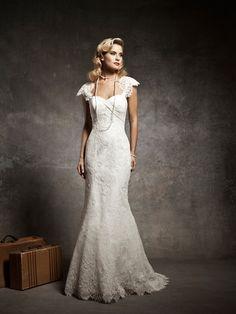 Lace Cap Sleeves Sweetheart Mermaid Wedding Dress 2013 with Sweep Train